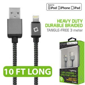 Picture of Cellet Lightning 8 Pin 10' Heavy-Duty Nylon Braided USB Charging Plus Data Sync Cable