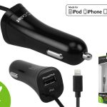 Picture of Cellet 3.3 ft  Lightning Cable 17 Watt Car Charger (Black)