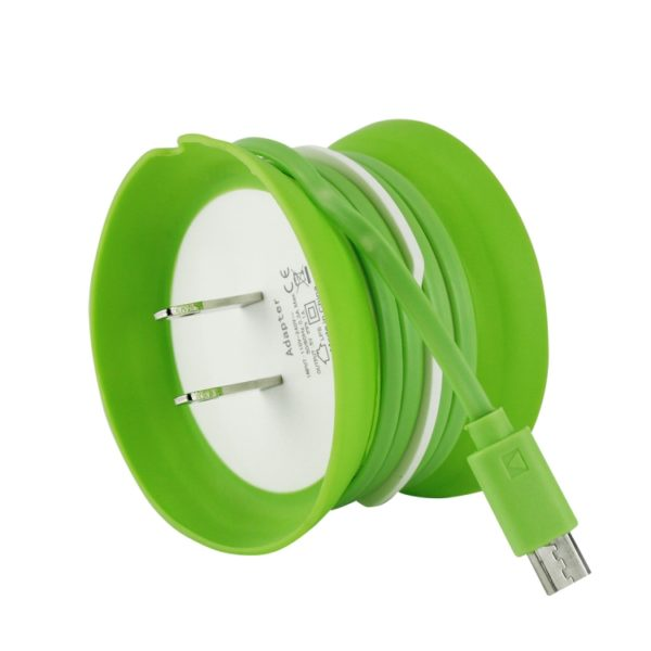 Picture of Cellet 2.7 ft Micro USB Home Charger w/ Cord Keeper (Green)