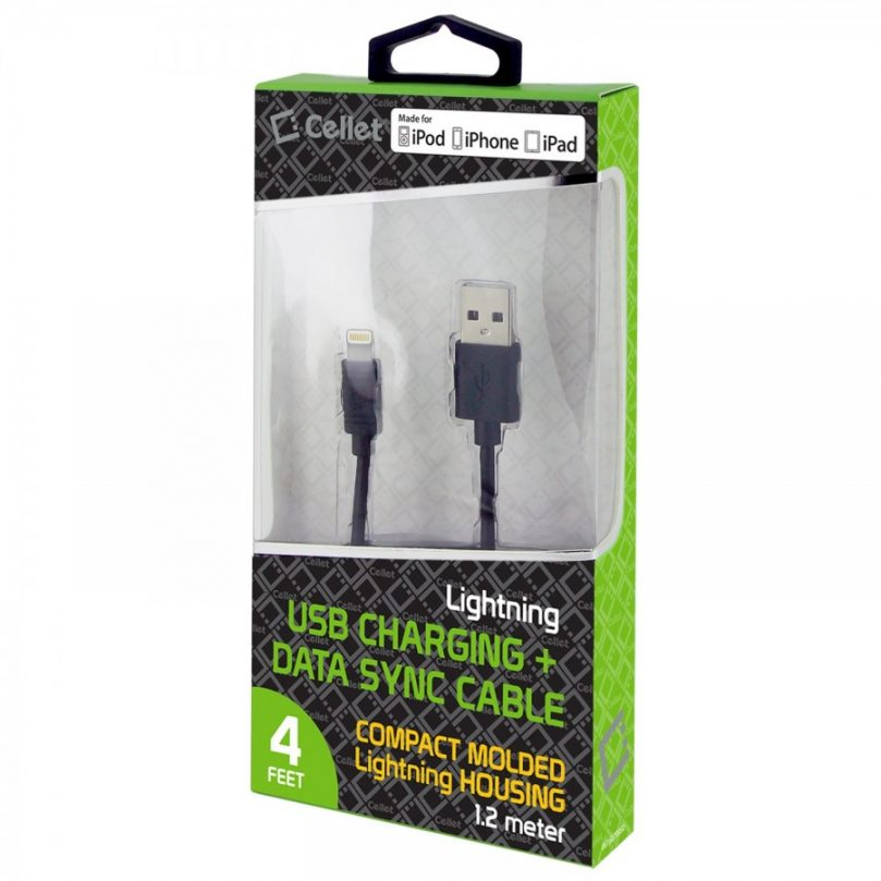 Picture of Cellet 4 Ft Lightning USB Charging + Data Cable (Black)
