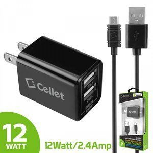 Picture of Cellet 5 ft Micro USB Cable + Home Charger (Black)