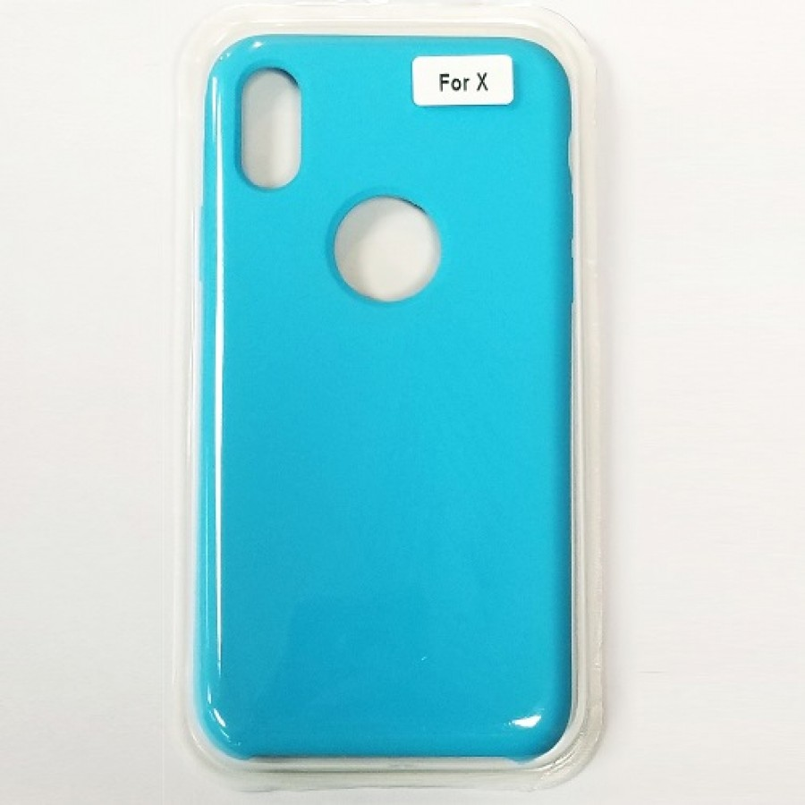 new product 8a295 e269a iPhone X/Xs Liquid Silicone Gel Rubber Shockproof Case SKY BLUE